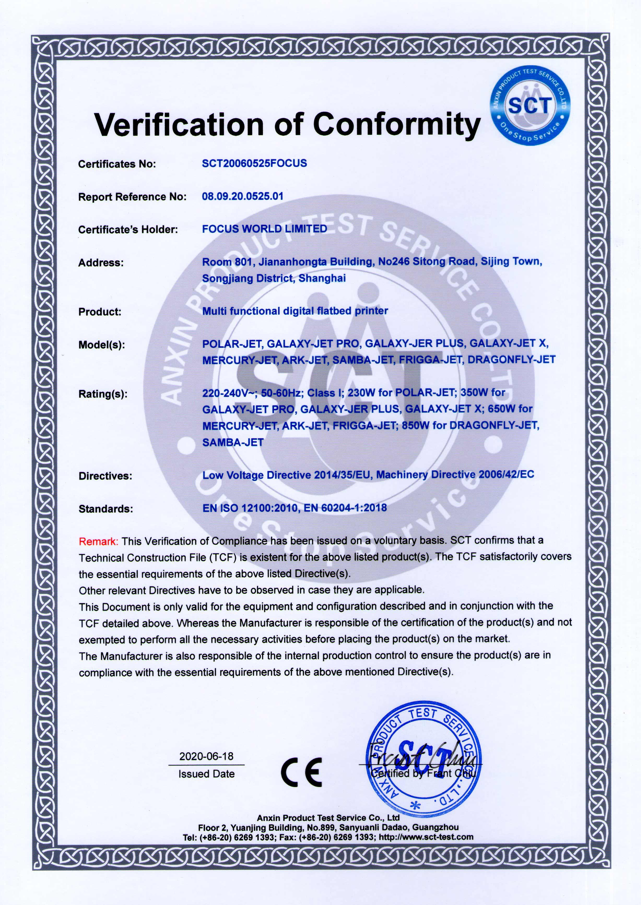 Focus Digital Certificate-CE3